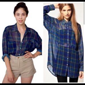 American apparel plaid oversized chiffon button